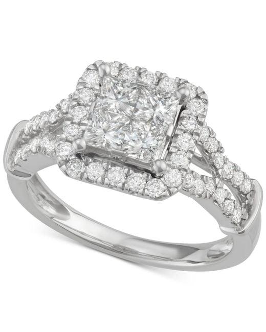 Macy's | Metallic Diamond Quad Halo Engagement Ring (1-1/2 Ct. T.w.) In 14k White Gold | Lyst