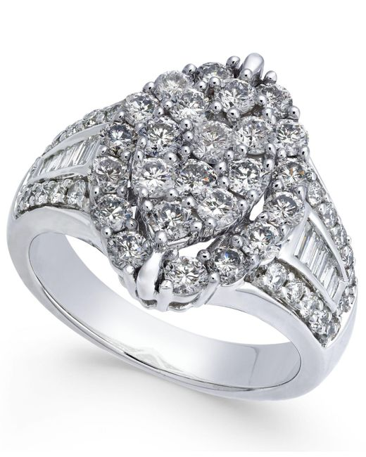 Macy's - Metallic Diamond Marquise-style Cluster Ring (2 Ct. T.w.) In 14k White Gold - Lyst