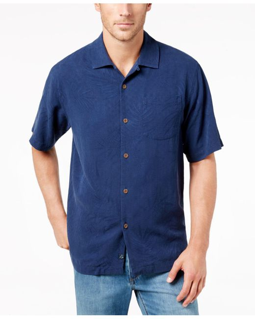 Tommy Bahama   Blue Men's Tiki Palms Silk Short-sleeve Shirt, A Macy's Exclusive Style for Men   Lyst