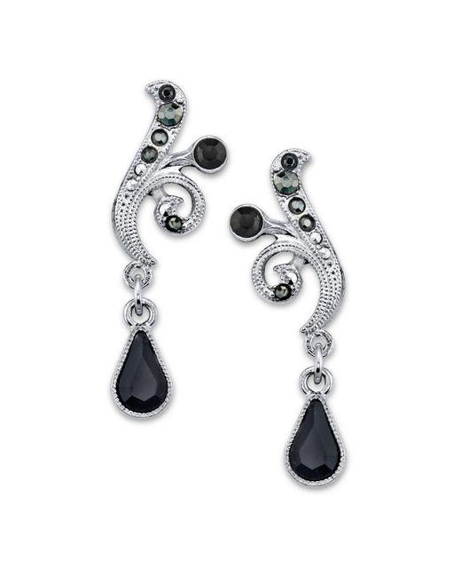 2028 Metallic Silver-tone Black And Hematite Color Crystal Vine Drop Earrings