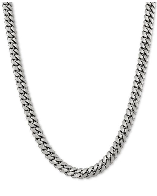 """Macy's Metallic Cuban Link 22"""" Chain Necklace In Sterling Silver"""