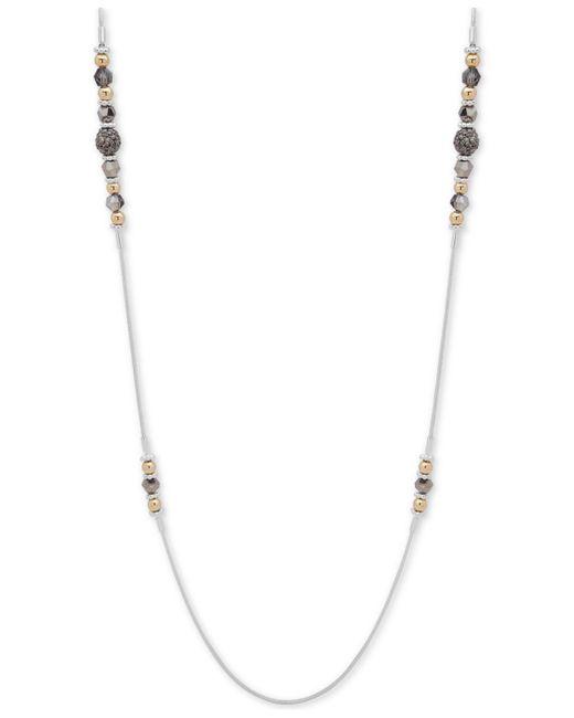 "Nine West - Metallic Tri-tone Crystal & Bead 42"" Statement Necklace - Lyst"