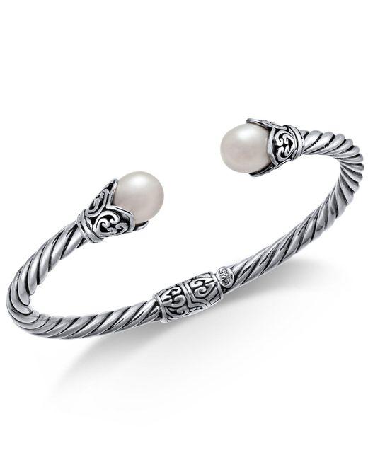 Macy's - Metallic Cultured Freshwater Pearl (8mm) Filigree Bangle Bracelet In Sterling Silver - Lyst