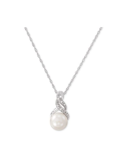 4addaaf80 ... Macy's Metallic Cultured Freshwater Pearl (8 & 9mm) And Diamond Accent Pendant  Necklace And ...
