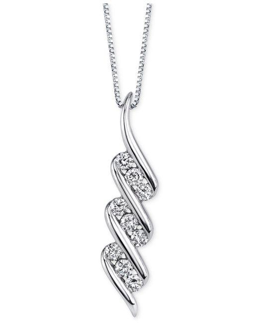 Sirena - Diamond Swirled Pendant Necklace (1/3 Ct. T.w.) In 14k White Gold - Lyst