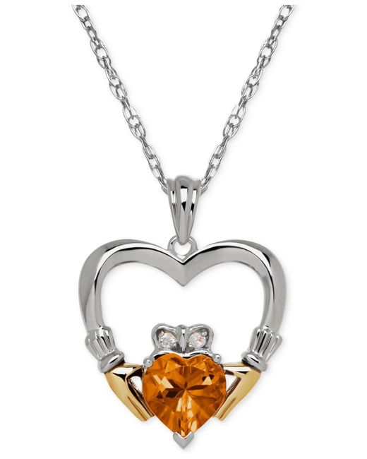 Macy's - Metallic Citrine (1-1/10 Ct. T.w.) And Diamond Accent Heart Pendant Necklace In Sterling Silver And 14k Gold - Lyst