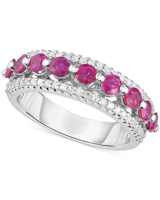 Macy's - Red Ruby (1-1/3 Ct. T.w.) & Diamond (1/3 Ct. T.w.) Ring In Sterling Silver - Lyst