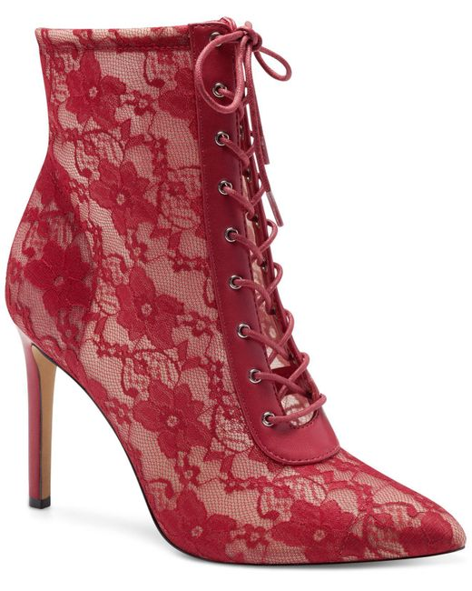 INC International Concepts Red Indira Lace-up Booties, Created For Macy's