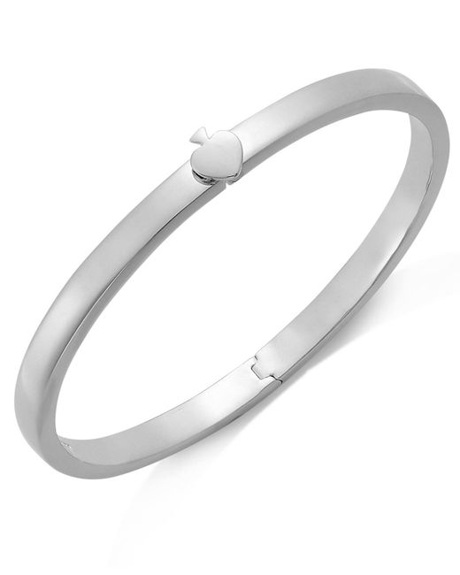 Kate Spade - Metallic Bracelet, Silver-tone Spade Thin Hinged Bangle Bracelet - Lyst