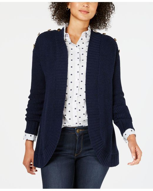 Charter Club - Blue Petite Open-front Completer Cardigan, Created For Macy's - Lyst
