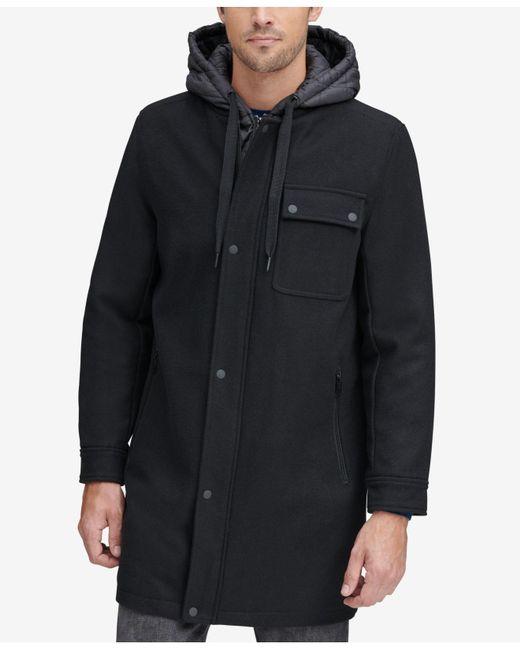 Marc New York Black Baseball Coat With Removable Hood for men