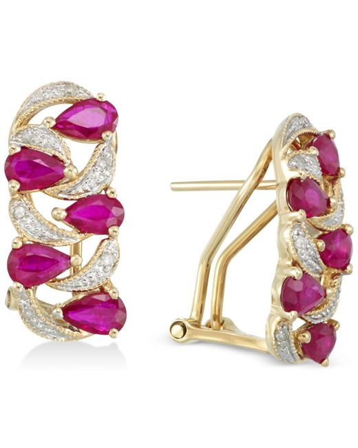 Rare Featuring Gemfields - Purple Certified Ruby (2 Ct. T.w.) And Diamond (1/8 Ct. T.w.) Earrings - Lyst