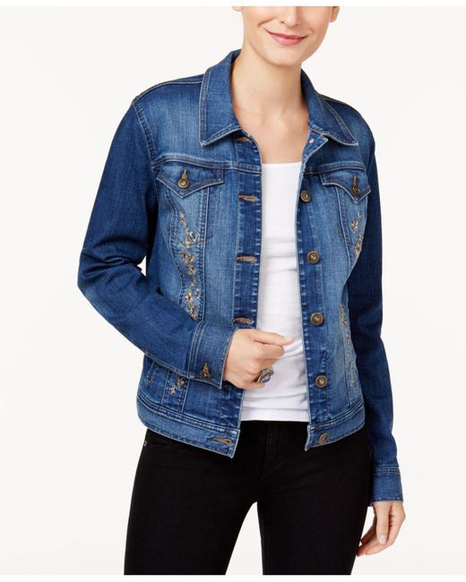 Style & Co. | Blue Embroidered Denim Jacket | Lyst