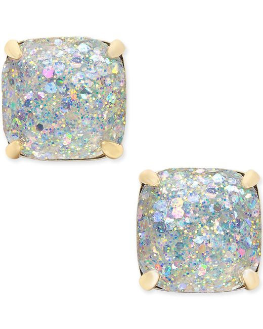 Kate Spade - Metallic 14k Gold-plated Glittery Purple Square Stud Earrings - Lyst