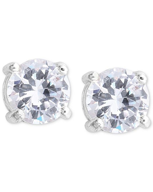 Nine West - Metallic Earrings, Silver-tone Round-cut Crystal Stud Earrings - Lyst
