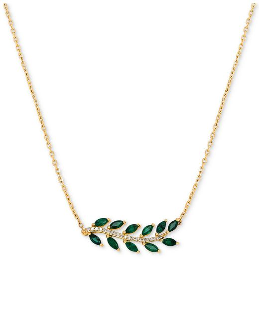 """Macy's Green Emerald (3/4 Ct. T.w.) & Diamond Accent 18"""" Statement Necklace In 14k Gold"""