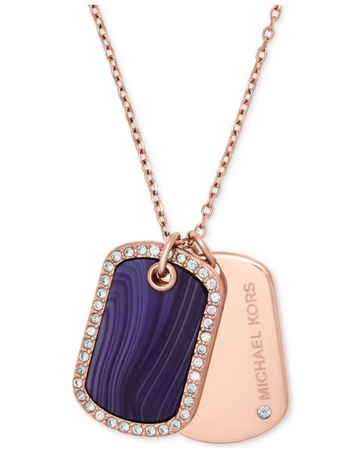 Michael Kors | Rose Gold-tone Crystal & Purple Stone Dog Tags Pendant Necklace | Lyst