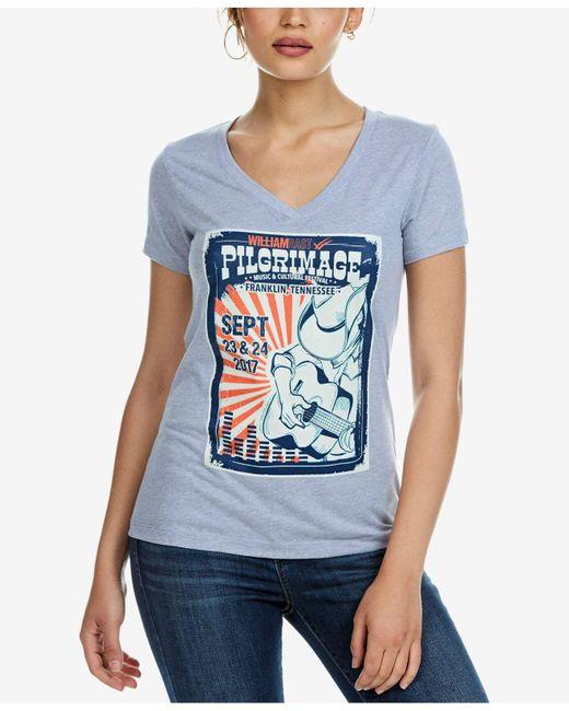 William Rast | Blue Melange Graphic T-shirt | Lyst