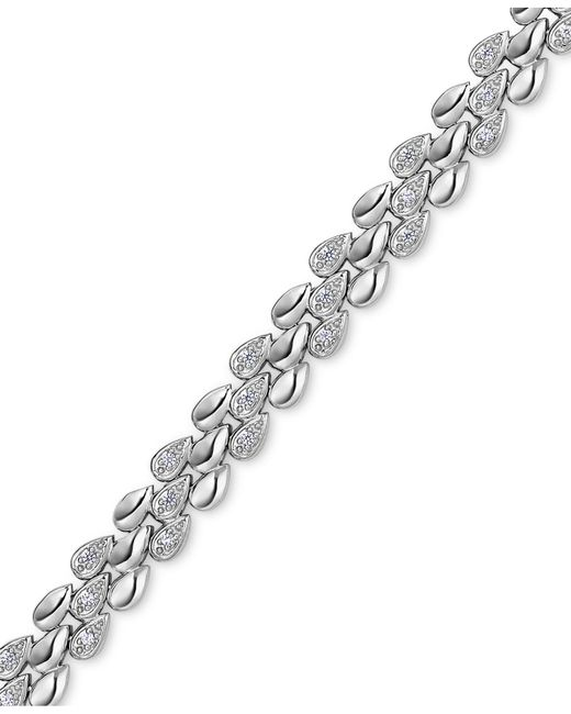 Macy's Metallic Diamond Link Bracelet (1/4 Ct. T.w.) In Sterling Silver