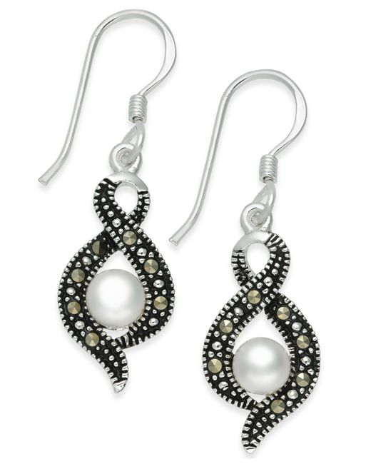 Macy's | Metallic Cultured Freshwater Pearl (5mm) & Marcasite (1-1/3 Ct. T.w.) Drop Earring In Fine Silver-plate | Lyst