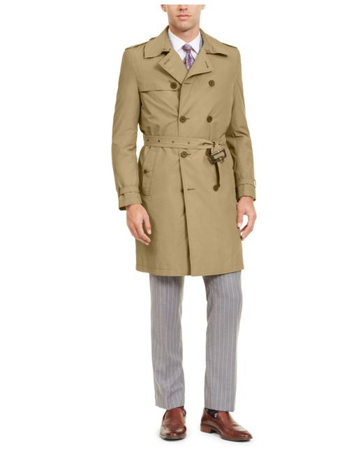 Calvin Klein Natural Slim-fit Double Breasted Military Raincoat for men