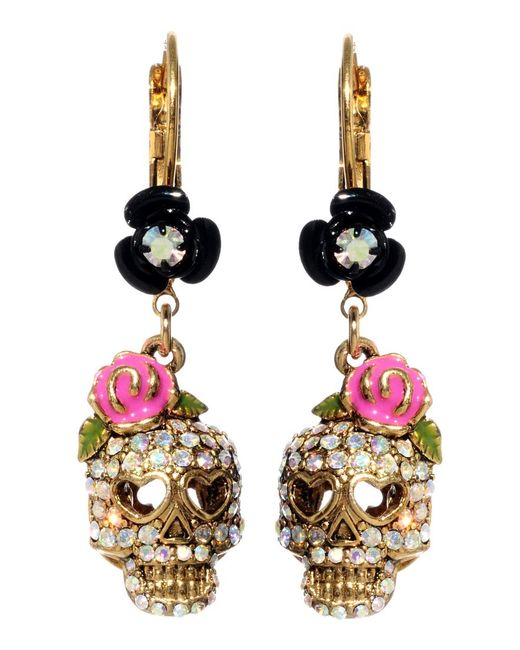 Betsey Johnson   Metallic Crystal Skull And Flower Drop Earrings   Lyst