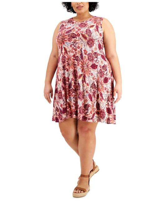 Style & Co. Pink Plus Size Floral-print Flip-flop Dress, Created For Macy's