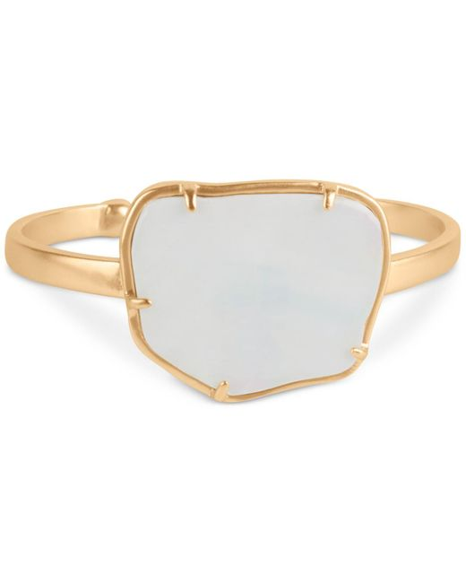 Lucky Brand Metallic Gold-tone Mother-of-pearl Cuff Bracelet