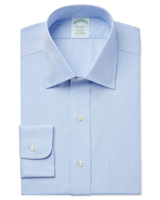 Brooks Brothers Blue Milano Extra Slim-fit Non-iron Pinpoint Solid Dress Shirt for men