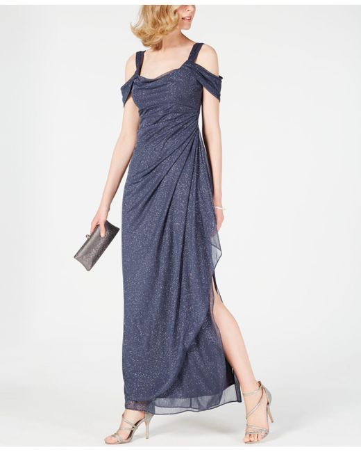 Alex Evenings Gray Cold-shoulder Draped Glitter Gown