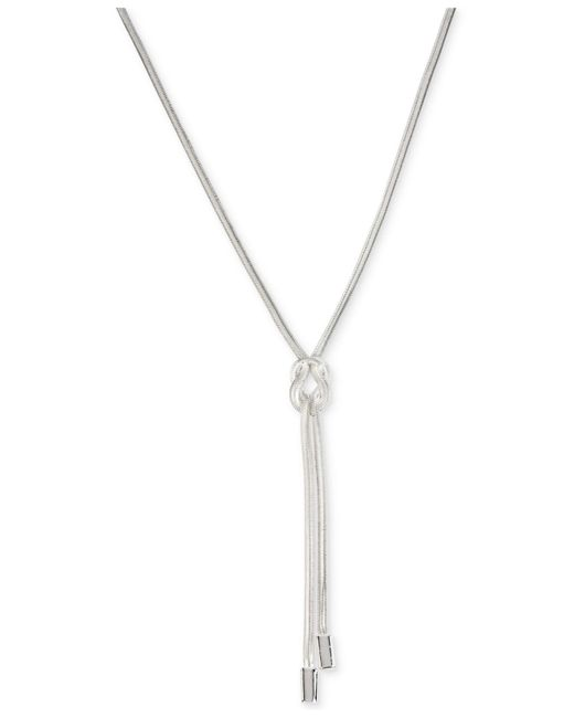 Kenneth Cole - Metallic Silver-tone Knot Lariat Necklace - Lyst