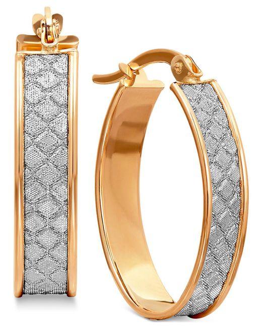 Macy's | Metallic Textured Glittery Hoop Earrings In 14k Yellow, White Or Rose Gold | Lyst