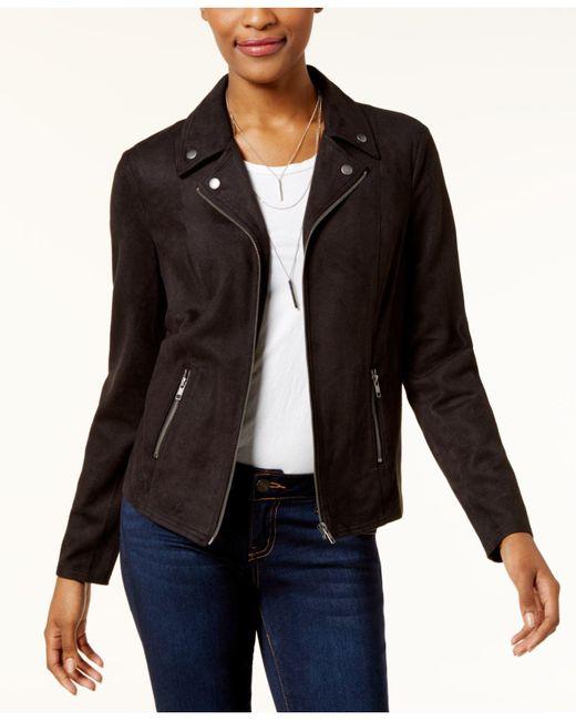 Style & Co. | Black Faux-suede Moto Jacket | Lyst