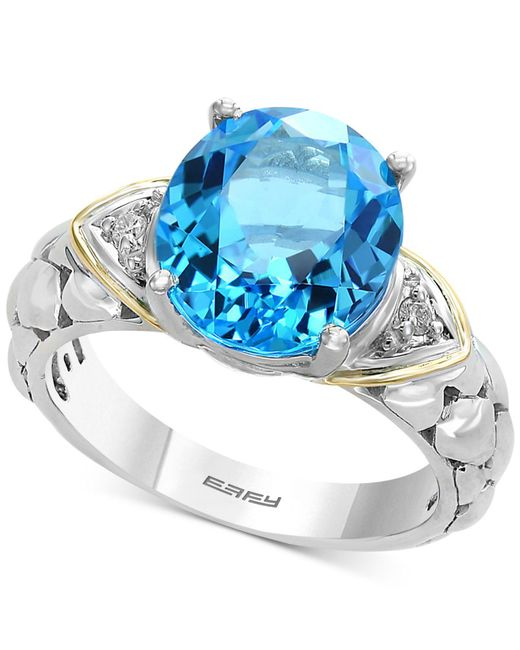 Effy Collection Balissima By Effy® Blue Topaz (5-1/2 Ct. T.w.) & Diamond Accent Ring In Sterling Silver & 18k Gold