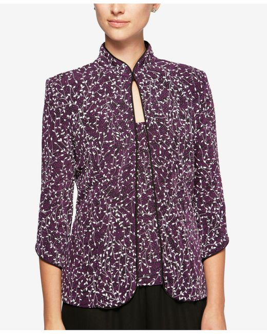 Alex Evenings   Purple 2-pc. Mandarin Jacket & Shell   Lyst