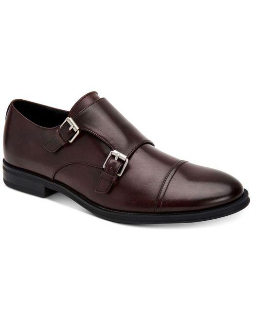 Calvin Klein Multicolor Winthrope Crust Leather Double Monk Strap Shoes for men