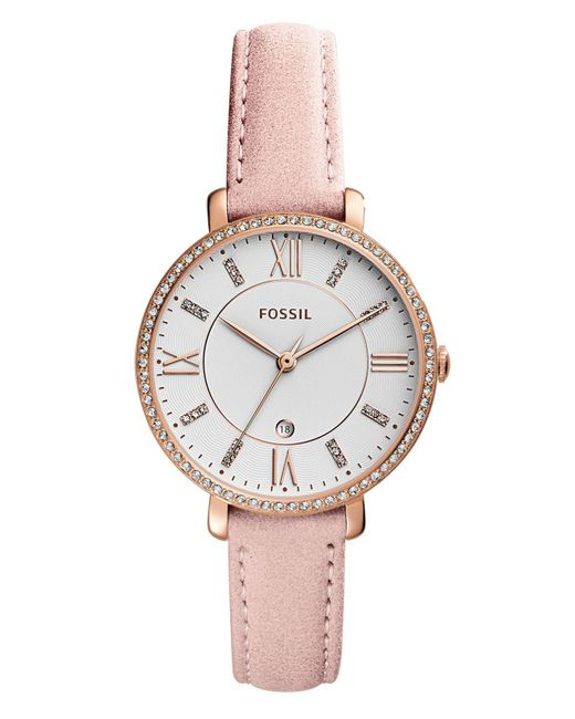 Fossil - Metallic Women's Jacqueline Blush Leather Strap Watch 36mm - Lyst