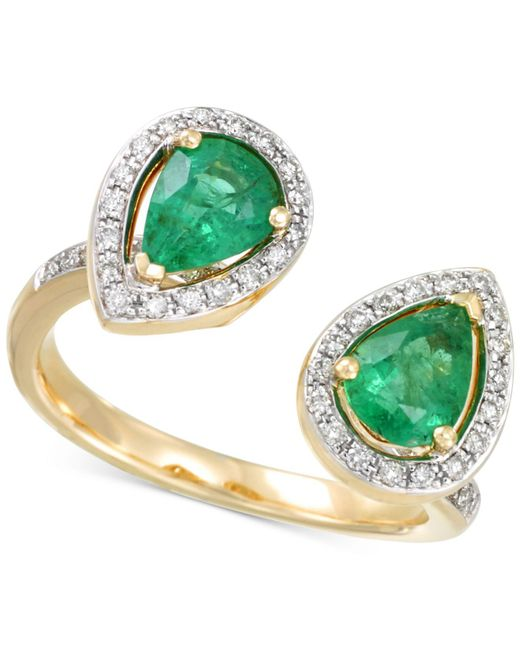 Rare Featuring Gemfields | Metallic Certified Emerald (1-1/6 Ct. T.w.) And Diamond (1/4 Ct. T.w.) Teardrop Bypass Ring In 14k Gold | Lyst