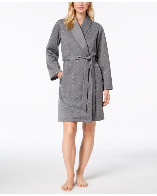 Charter Club - Gray Short Sweatshirt Robe, Created For Macy's - Lyst