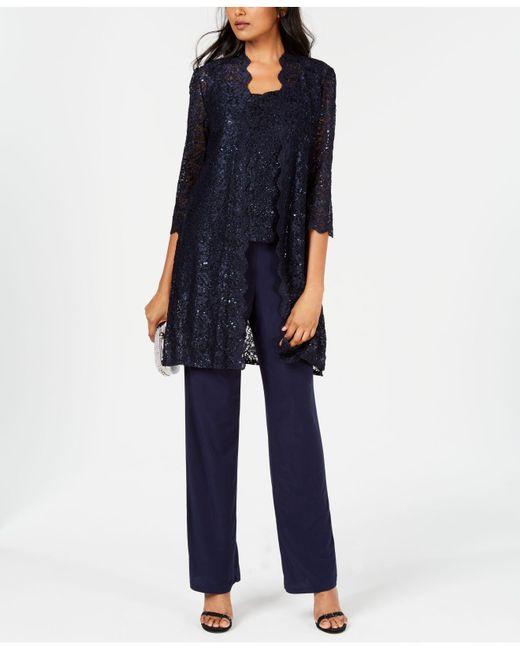 R & M Richards Blue 3-pc. Sequined Lace Pantsuit & Jacket