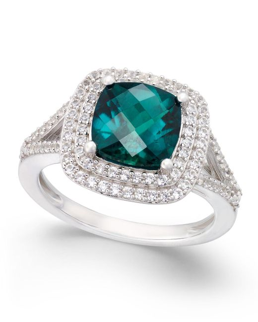 Macy's - Green Lab-created Emerald (1-1/2 Ct. T.w.) And White Sapphire (1/2 Ct. T.w.) Ring In Sterling Silver - Lyst