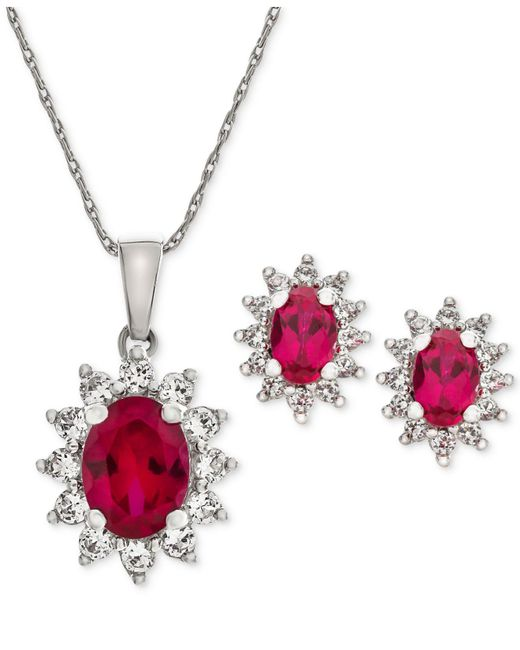 Macy's - Metallic Lab Created Ruby (2-3/8 Ct. T.w.) & White Sapphire (1 Ct. T.w.) Pendant Necklace & Stud Earrings In Sterling Silver - Lyst