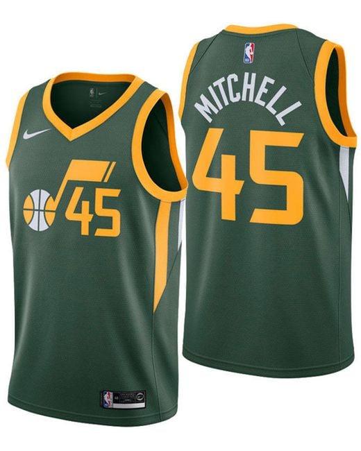 9bce1858aca new zealand nike green donovan mitchell utah jazz earned edition swingman  jersey for men lyst a8515