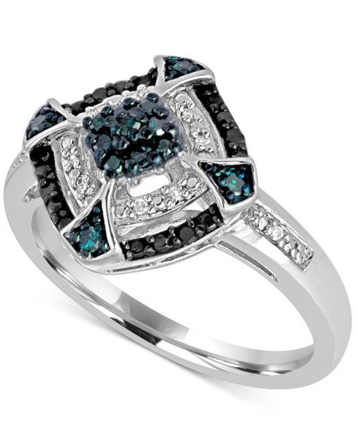 Macy's | Metallic Diamond Multicolor Statement Ring (1/6 Ct. T.w.) In Sterling Silver | Lyst