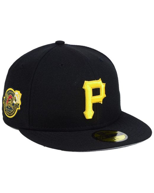 huge selection of 8f7df f40e7 ... sweden ktz black pittsburgh pirates trophy patch 59fifty fitted cap for men  lyst de0bc dbdb2