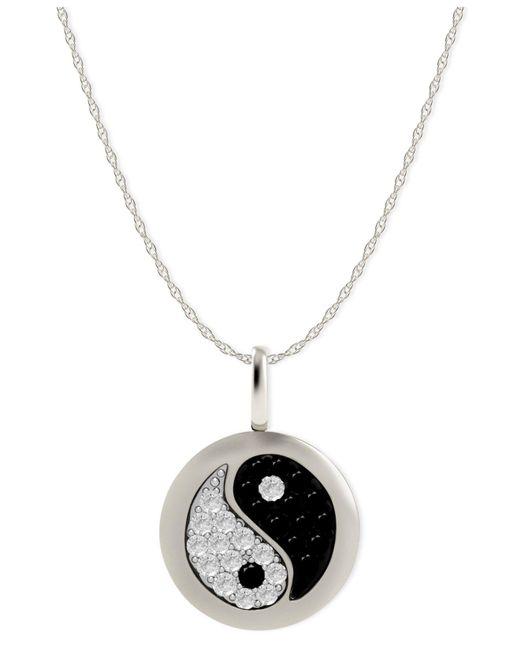 Macy's - Diamond Yin Yang Disk Pendant Necklace In 14k White Gold (1/10 Ct. T.w.) - Lyst