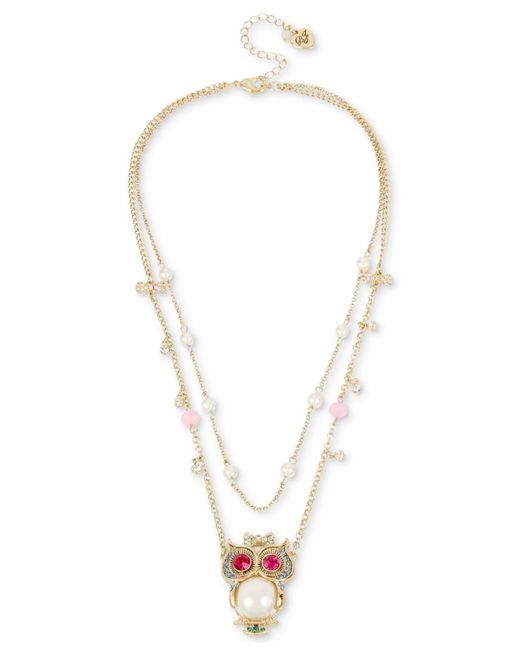 Betsey Johnson - Metallic Gold-tone Multi-stone & Imitation Pearl Owl Pendant Double-row Necklace - Lyst