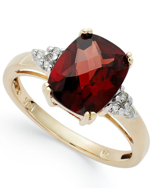Macy's | Red 14k Gold Garnet (3-1/2 Ct. T.w.) And Diamond (1/10 Ct. T.w.) Ring | Lyst