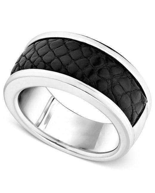 Macy's - Metallic Men's Sterling Silver Ring, Black Alligator Inlay Band for Men - Lyst