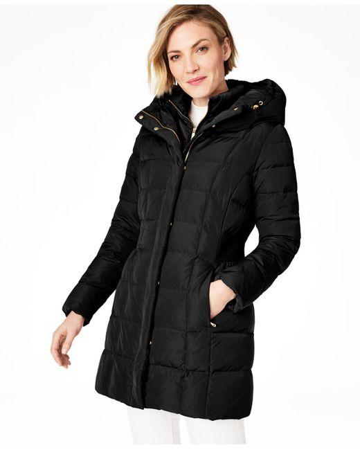 Cole Haan Black Petite Hooded Down Puffer Coat
